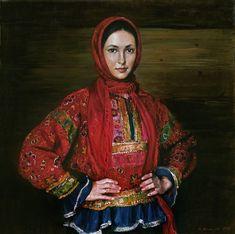 М.Шаньков. Ксения Кузьмина в русском костюме