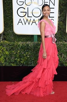 Zoe Saldana wearing KAYLEE to the 74th Annual Golden Globe Awards in Los Angeles