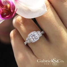 Gabriel & Co.-Voted #1 Most Preferred Fine Jewelry and Bridal Brand. 14k White Gold Round 3 Stones Halo Engagement Ring