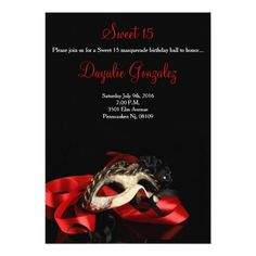 Red Masquerade Sweet 16 Birthday Invitation