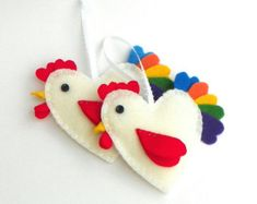 Rooster Sewing Kit, Felt Rooster Sewing Kit, Rooster Ornament Sewing Kit