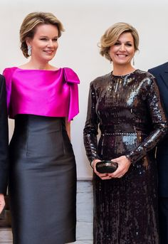 Queen Mathilde of Belgium and Queen Maxima of The Netherlands. Elegant Dresses, Cute Dresses, Beautiful Dresses, Royal Dresses, Queen Maxima, Royal Fashion, African Dress, African Fashion, Designer Dresses