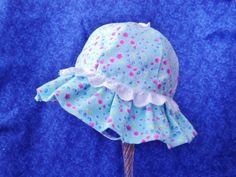 Baby Sunhat with Chin Strap Light Blue Pink Flowers Lace by AdorableandCute on Etsy
