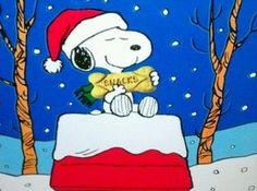 a gift for Snoopy Peanuts Christmas, Charlie Brown Christmas, Charlie Brown And Snoopy, Christmas And New Year, Winter Christmas, Vintage Christmas, Snoopy And Woodstock, Peanuts Gang, Reyes