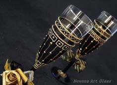 Black and Gold Champagne Flutes Wedding Glasses by NevenaArtGlass