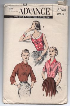 "1950's Advance Blouse with Three Collars, Scoop Neck, V Neck, High Neck Pattern - Bust 34"" - No. 8040 by backroomfinds on Etsy"
