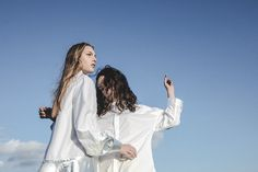 The dress by ECOEMBES BY MARIA CLE LEAL flows in harmony with the Oversize Dress Shirt White, designed in Spain with fabrics sourced and produced in Europe by AUBERGIN