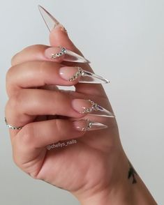Clear clear acrylic nails, acrylic nails stiletto, almond acrylic n Bling Acrylic Nails, Acrylic Nails Stiletto, Clear Acrylic Nails, Almond Acrylic Nails, Bling Nails, Prom Nails, Wedding Nails, Clear Nail Designs, Clear Nails With Design
