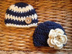 Crocheted twin hat set, boy and girl beanie sets, twin photo prop on Etsy Crochet Kids Hats, Crochet For Boys, Crochet Beanie, Crochet Gifts, Cute Crochet, Knitted Hats, Knit Crochet, Knitting Projects, Crochet Projects