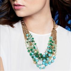 "⏰ 1 HR SALE! Stella & Dot Maldives Necklace New without box. ""Irresistible hues of green and golden beads and reconstituted turquoise cascade in a lush twist of oceanic beauty. Chain in gold-plating.    18"" long with 2"" extender.  Lobster clasp.  Lead and nickel safe."" LS039 LD020315 70 Stella & Dot Jewelry Necklaces"