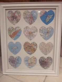 """All the places we've traveled.  One year anniversary gift. """"Paper"""" Anniversary gift ideas #anniversarygifts"""
