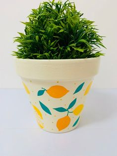 Decoupaged Terracotta Plant Pot, Colourful Lemons Design, Home Design, Gift Ideas. Flower Pot Art, Small Flower Pots, Flower Pot Design, Terracotta Plant Pots, Painted Plant Pots, Painted Flower Pots, Painted Pebbles, Hand Painted, Decorated Flower Pots