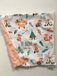 Tribal fox Woodland Forest Animal Baby lovey security Blanket, minky Baby Blanket, Woodland Nursery, Forest Nursery, tp Baby Shower gift by DwellDarling on Etsy