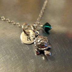World Turtle Day (May 23rd!) Turtle Necklace - Turtle Hand Stamped Jewelry - Turtle Pendant Charm with Initial and Swarovski Crystal - Charm Chain