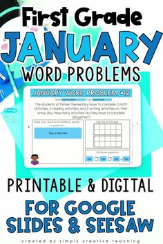 Grab this set of 24 digital and printable January math word problems for first grade. These engaging addition and subtraction word problems for numbers to 20 are perfect for in-person or distance learning. Use these in Google Classroom, Seesaw, or print out books for your students! The word problem types included are joining, separating, and comparing with unknowns in all positions. Perfect for whole group, independent work, test prep and MORE! Get your 1st grade math word problems today!