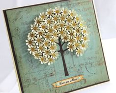 Nice idea for a Mother's Day Handmade Flower Tree Card, Love you Mom Card
