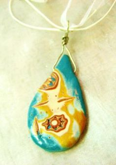 Mokume Gane Teardrop Polymer Clay Necklace OOAK $16.99