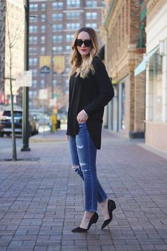 Noir, Who What Wear tunic, street style, city