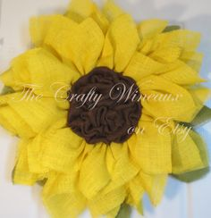 Sunflower Burlap Wreath Summer Wreath by TheCraftyWineaux on Etsy