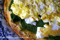 Spinach & Hummus Tostada with Eggs