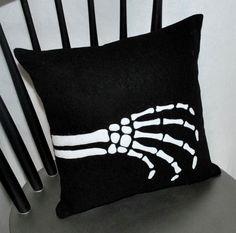 Skeleton hand pillow. #halloween #skeleton #pillow #DIY