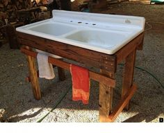 My new outdoor sink! Made from repurposed wood found sink with beeswax and linseed oil finish. My new outdoor sink! Made from repurposed wood found sink with beeswax and linseed oil finish. Outdoor Sinks, Outside Sink, Outdoor Wood, Rustic Outdoor Kitchens, Vintage Sink, Sink, Outdoor Kitchen, Outdoor Kitchen Countertops, Repurposed Wood
