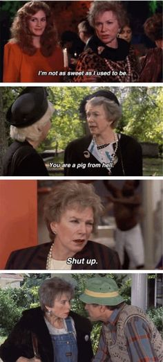 """Ouiser Boudreaux, Steel Magnolias: """"I'm not crazy, I've just been in a very bad mood 40 years!"""" -- """"I'm an old Southern woman and we're supposed to wear funny looking hats and ugly clothes and grow vegetables in the dirt. Don't ask me those questions. I don't know why, I don't make the rules!"""" Movies Showing, Movies And Tv Shows, Tv Quotes, Funny Quotes, Steel Magnolias Quotes, Magnolia Movie, Shirley Maclaine, Favorite Movie Quotes, Film Movie"""