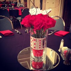 Centerpiece for a casino themed event at The Marten House Hotel & Lilly Conference Center in Indianapolis, IN