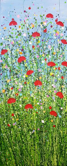 'Remember Me by Lucy Moore Original floral artwork of poppies gently bobbing in the breeze Acrylic on canvas 60 x 25 cm Original Artwork, Original Paintings, Picture Ornaments, Floral Artwork, Paintings For Sale, Online Art Gallery, Poppies, Abstract Art, Artsy
