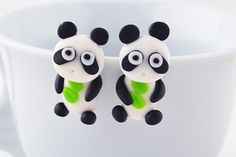 New to SpektroDesign on Etsy: Panda Bear White/Black Green Leaves Clay Hand Made Earrings 3D (8.99 USD)