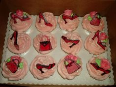 """""""Diva"""" cupcakes - white cupcakes, pink frosting, chocolate transfer shoes, purses, candy pearls"""