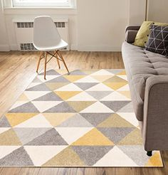 Yellow Area Rugs - Did you Know Yellow is for Thinkers? Funky yellow area rugs for those who like yellow - yellow combined with a pattern or a secondary color to punch up a room. #yellowrugs #yellowarearugs
