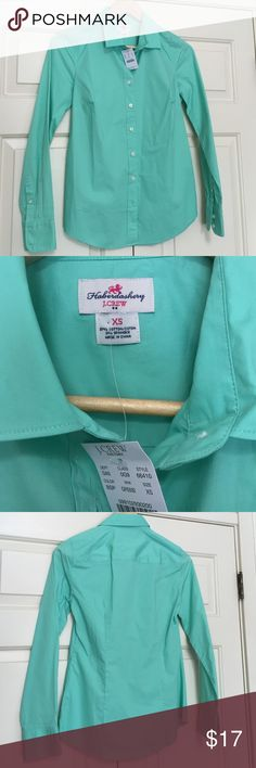NWT J. Crew Haberdashery mint green shirt size XS New with tags J. Crew mint green Haberdashery fitted button down size XS. Cotton/spandex blend. J. Crew Factory Tops Button Down Shirts
