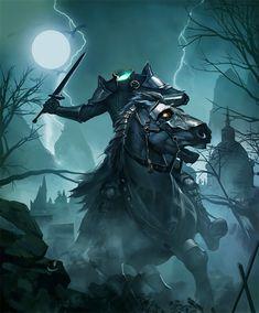 Card: Dullahan Fantasy Races, Fantasy Art, Fantasy Creatures, Mythical Creatures, Headless Horseman, Dark Art Drawings, Famous Monsters, Dark Tattoo, Halloween Art