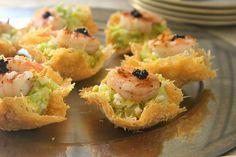 Cesear Salad & Shrimp on Parmesan Nests