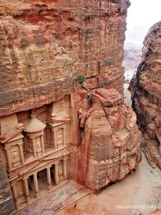 View of the Treasury from above, after a crazy-but-worth-it 40 mimute hike/scramble Discovered by Mona Musing at Petra, Jordan #travel