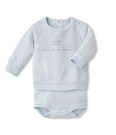 Petit Bateau BabyBoys Newborn Long Sleeve Bodysuit with Blouse Blue 3  Months     For more information 4519fda0a