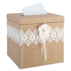 This Rustic Wedding Card Box is perfect for a rustic theme wedding or special event. This burlap wedding card box features lovely burlap, lace and cording. Wedding Gift Card Box, Rustic Card Box Wedding, Gift Card Boxes, Wedding Boxes, Chic Wedding, Wedding Cards, Wedding Gifts, Lace Wedding, Trendy Wedding