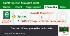 SumIf function of Math Trig functions in Microsoft Excel 2016 - http://indiaexcel.com/sumif-function-microsoft-excel-2016/