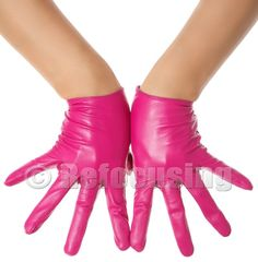 Sexy Fuchsia Pink Leather  Gloves