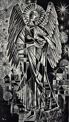 "Gerda With, ""Untitled (Christmas Card: Angel),"" 1953. Woodcut on card. 16 1/2 x 10 13/16 in. (41.9 x 27.4 cm). Gift of Dr. and Mrs. Ernest Grunwald. Grunwald Center for the Graphic Arts, UCLA."