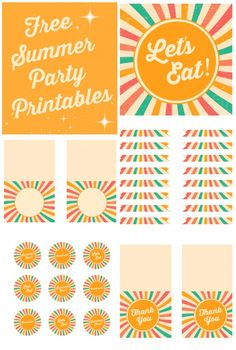Free retro summer party printables, perfect for all your summer parties and brunches! | CatchMyParty.com