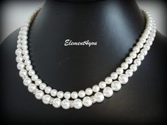 Pearl Necklace Two Strand Necklace Bridal Pearl by Element4you