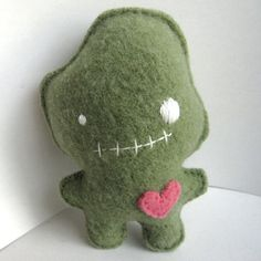 Green Foodoo Doll  Recycled Wool Plush Toy by sighfoo on Etsy
