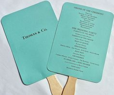 Wedding Program Fans Programs Hand Tiffany Blue By Abbey And Izzie Designs