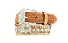 Men's Belt | Cowhide with Blue Rhinestones & Silver Conchos Leather Belts, Men's Belts, Golden Life, Branded Belts, Western Belts, Boy Hairstyles, Natural Leather, Basket Weaving, Calves