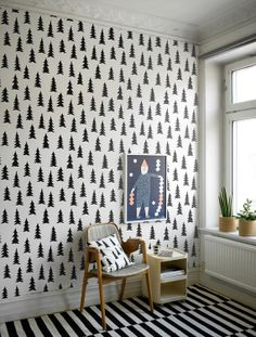 Self adhesive vinyl temporary removable wallpaper, wall decal - Tree pattern print - 077