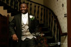 Groom Looking Good in Black Suit by Okunoren Twins   Benedette & Martin's Regal Wedding   Alakija Studios
