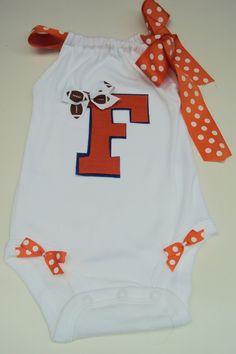 Baby Girls, Toddler Girls onesie. For Your Little Florida gators football fan. College Football..