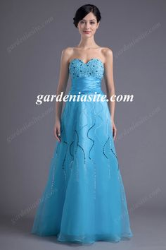 A Line Sweetheart Floor Length Tulle Holiday Dress 2014 with Sash Applique and Sequins - Gardeniasite